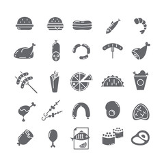 Black vector icons with meat.