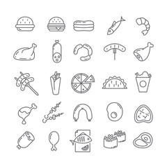 Set of vector icons with meat.