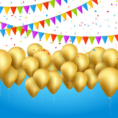 Vector festive card golden balloons and confetti, party invitation. Festive celebration background