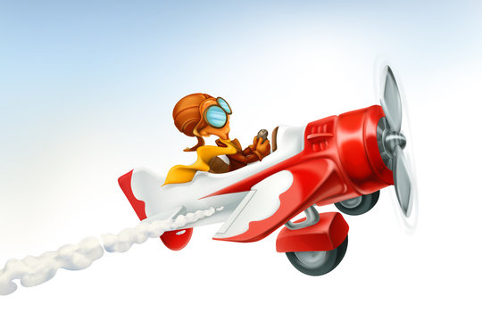 Funny airplane, 3d vector cartoon isolated on white background