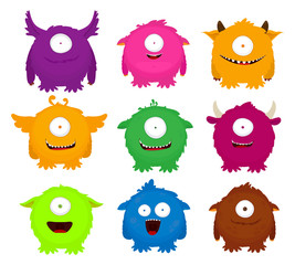 Set of colorful round fluffy cute monsters. Vector illustration. Flat design.