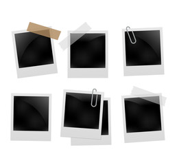 Photo frame set template on transparent grid. Isolated instant photo frame