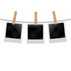 Set of photo frames on the rope with clothespin. Photo frames set on white