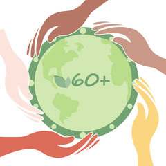 Earth Hour concept. Hands saving green planet in the form of clocks