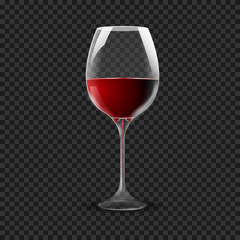 Wineglass isolated on transparent. Re wine glass on dark