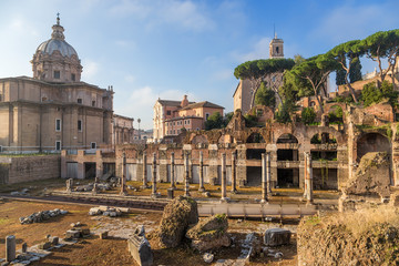Rome. Italy. The ruins of Caesar's Forum, 54 - 46 years BC.  In the background: Church of Saints Luke and Martina, Arch of Septimius Severus, Mamertinum