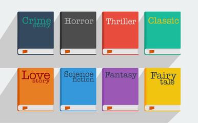 Fototapeta Set of fiction genre icons romance, fairytale, detective, adventure, science fiction, horror.
