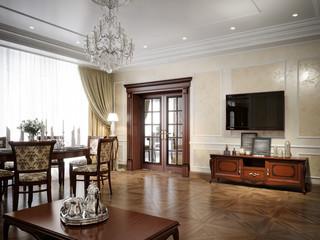 Luxury living room interior design in classic style. 3d render