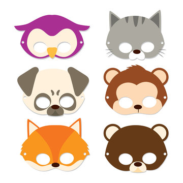Cute Animal Children Masks for carnival flat color style