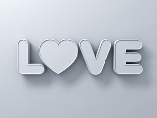 3d love word concept with white heart on white background with shadow, valentines day 3D rendering.