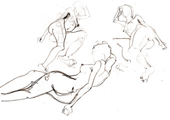 Hand drawing picture. Scan of sketch naked women