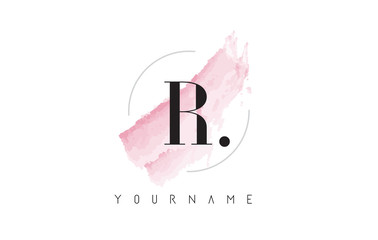 R Letter Logo with Pastel Watercolor Aquarella Brush.