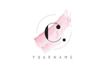 C Letter Logo with Pastel Watercolor Aquarella Brush.