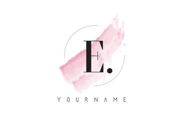 E Letter Logo with Pastel Watercolor Aquarella Brush.