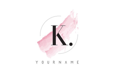 K Letter Logo with Pastel Watercolor Aquarella Brush.