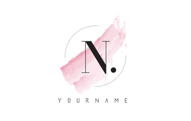 N Letter Logo with Pastel Watercolor Aquarella Brush.