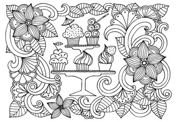 Doodle drawing of sweets and flowers. Vector image of a very tas