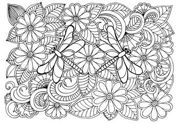 Black and white flowers and dragonflies pattern for adult colori