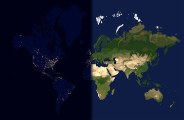 Day in the east, Night in the West, World map vector illustration