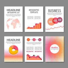 Business Flyer set. Brochure with infographics. Modern colorful design flyer templates. Mobile applications and Online Services Infographic