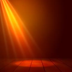 Floodlight spotlight illuminates wooden scene. Flash light on stage. Presenatation or performance background vector illustration.