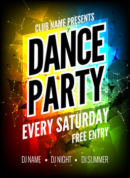 Dance Party Poster Template. Night Dance Party flyer. Club party design template on dark colorful background. Club free entry