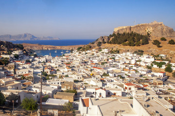 Panorama of Lindos and the Acropolis. Rhodes, Greece