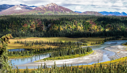 Panoramic view from Denali Highway with autumn colors to the Alaskan Range