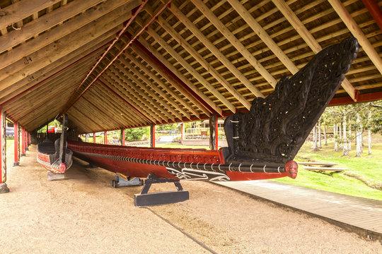 Boathouse with waka (canoe), Waitangi, New Zealand