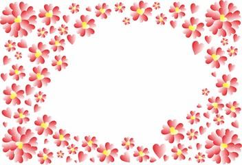 Rahmen mit roten Herzen und Herz-Blumen