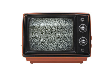 Vintage TV with static isolated