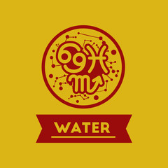 flat icon element zodiacal Water
