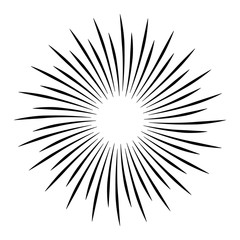 Sun rays on a white background, line drawing - Stock Vector