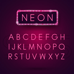 Glowing Neon Alphabet. Font Type. Electric light. Vector illustr