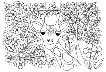 Nice giraffe in the savanna. Monochrome drawing with trees and f