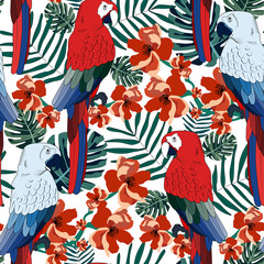 Tropical pattern with parrots.Exotic summer seamless print.Vector textile texture