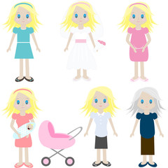 The cycle of life from childhood to old аges  female.