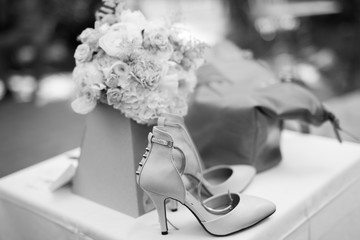 Bridal shoes and bouquet  wedding bride bouquet gift