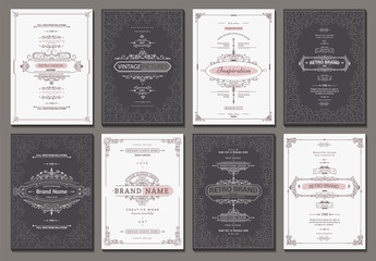 Retro creative card template with flourishes ornament elements. Background for invitation, announcement, brochure in vintage style
