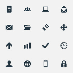 Set Of 16 Simple Application Icons. Can Be Found Such Elements As Envelope, Lock, Statistics And Other.