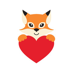 cute fox with heart vector