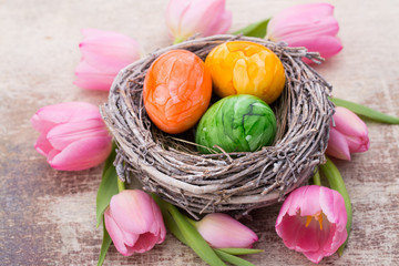 Easter eggs in the nest. Spring flowers tulips.