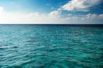 Wall Mural - Blue cloudy sky horizon over transparent water at daytime