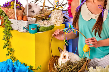 Search photos easter egg woman easter bunny in girls hands cropped shot of decoration egg holding by woman holiday negle Images