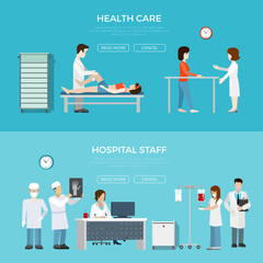 Flat hospital staff equipment vector. Health care concept.
