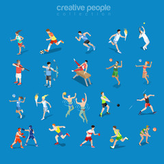 Flat isometric competitive scene vector Team individual sport 3d