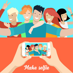 Flat people making selfie phone photo vector Social networks