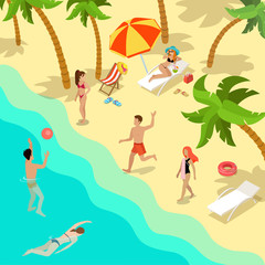 Flat Summer resort man woman swimming volleyball vector