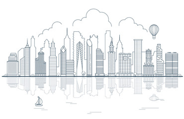 Line art Urban city skyscrapers houses water sky vector