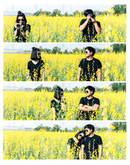 The lovely couple in love take photo on yellow flowers field